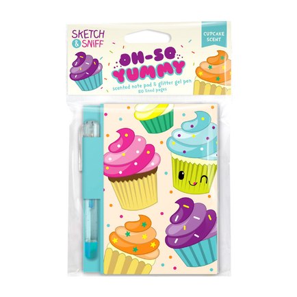 Yummy Sketch & Sniff Note Pads - Cupcake with colored gel pen