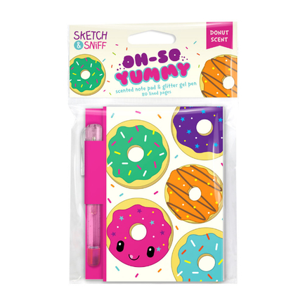 Yummy Sketch & Sniff Note Pads - Jelly Donut with colored gel pen