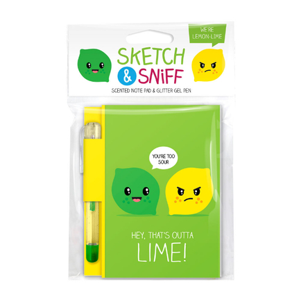 Sketch & Sniff Note Pads w/gel pen Lemon Lime