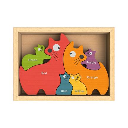 Cat Family Bilingual Puzzle (English-Spanish)