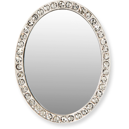 Oval Tech Mirror - silver/clear crystals