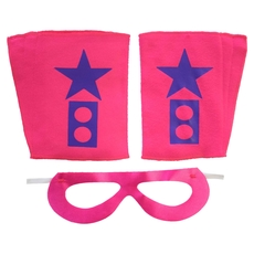 Superhero Mask And Cuffs Fuchsia