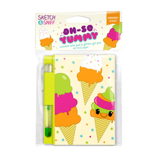 Yummy Sketch & Sniff Note Pads - Rainbow Sherbet with colored gel pen