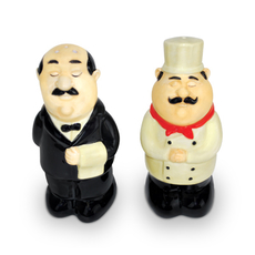 Waiter and Chef Salt and Pepper Shaker Set